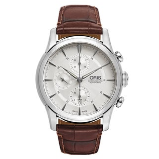Oris Men's Artelier Leather Silver Swiss Mechanical Automatic (Self-Winding) Watch