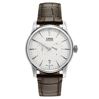 Oris Men's Artelier Leather Silver Swiss Mechanical Automatic (Self-Winding) Watch|https://ak1.ostkcdn.com/images/products/16838756/P23139025.jpg?impolicy=medium