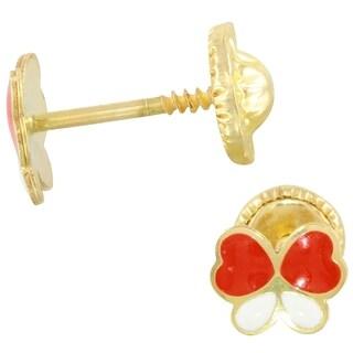 14k Yellow Gold Butterfly   Earrings