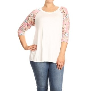 Women's Plus Size Floral Sleeve Solid Top