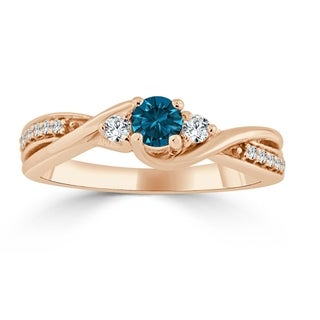 Auriya 14k Gold 1/3ct TDW Twisted Blue Diamond Engagement Ring