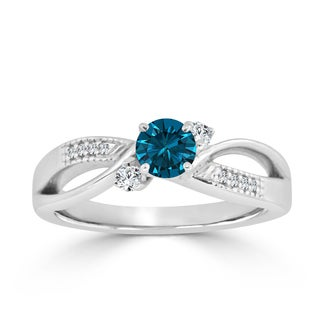 Auriya 14k Gold 1/2ct TDW Bypass Blue Diamond Engagement Ring