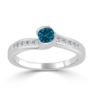 Auriya 14k Gold 1/2ct TDW Tension Blue Diamond Engagement Ring
