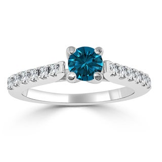 Auriya 14k Gold 3/4ct TDW Round Blue Diamond Engagement Ring