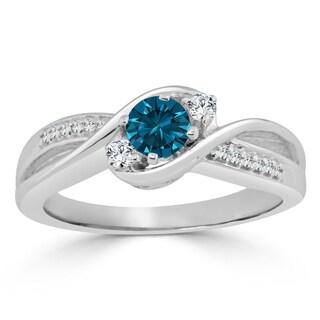 Auriya 14k Gold 1/2ct TDW Round Blue Diamond Engagement Ring