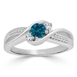 Auriya 14k Gold 1/2ct TDW Twisted Blue Diamond 3-Stone Engagement Ring