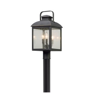 Troy Lighting Chamberlain Vintage Bronze Outdoor Post Mount, Clear Seeded Glass