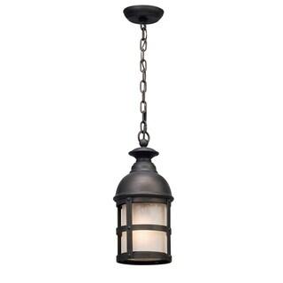 Troy Lighting Webster Vintage Bronze Outdoor Pendant, Clear Seeded Glass