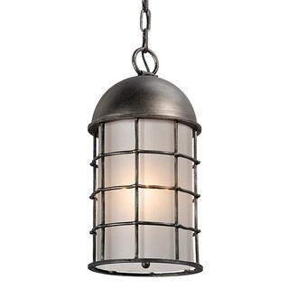 Troy Lighting Charlemagne Aged Pewter Outdoor Pendant, Frosted Seedy Glass