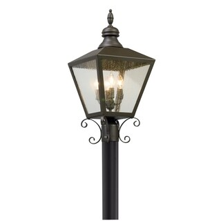 Troy Lighting Mumford Bronze Outdoor Post Mount, Clear Seeded Glass