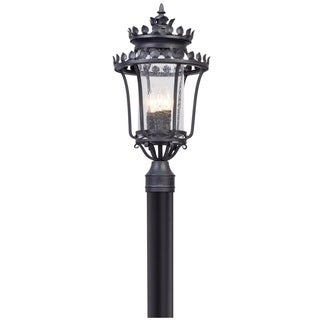 Troy Lighting Greystone Forged Iron Outdoor Post Mount, Clear Seeded Glass