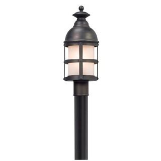Troy Lighting Webster Vintage Bronze Outdoor Post Mount, Clear Seeded Glass