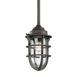 Troy Lighting Wilmington Nautical Rust Small Outdoor Pendant, Clear Seeded Glass