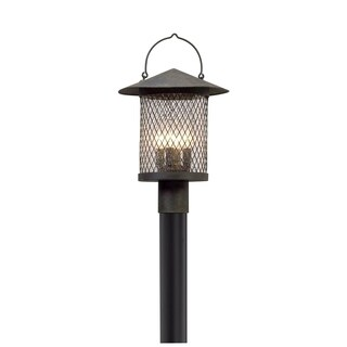 Troy Lighting Altamont French Iron Outdoor Post Mount, Clear Seeded Glass