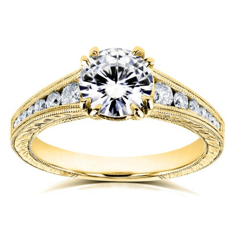 Annello by Kobelli 14k Yellow Gold 1 1/4ct TGW Forever One Moissanite and Diamond Ring