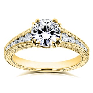 Kobelli 14k Yellow Gold 1 1/4ct TCW Forever One Colorless (DEF) Moissanite with Diamond Milgrain Channel Band Engagement Ring