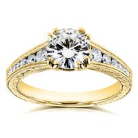 Annello by Kobelli 14k Yellow Gold 1 1/4ct TGW Moissanite with Diamond Milgrain Channel Band Engagement Ring