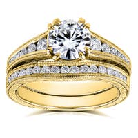 Annello by Kobelli 14k Yellow Gold 1 1/2ct TGW Forever One Moissanite and Diamond Bridal Set