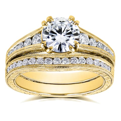 Annello by Kobelli 14k Yellow Gold 1 1/2ct TGW Moissanite (FG) with Diamond Milgrain Channel Band Bridal Set