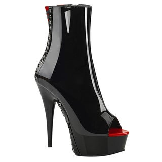 PLEASER DELIGHT-1025 Women's Peep Toe Corset Style Lace Up Side Zipper Booties