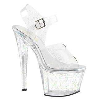 Pleaser Women's Sky-308MMG Clear/Glitter PVC Platform Sandals with Stiletto Heels and Ankle Straps