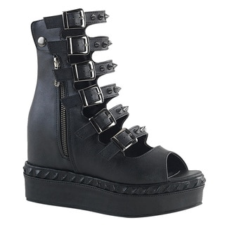 DEMONIA VENOM-110 Women's Buckle Straps Side Zipper Ankle Boots