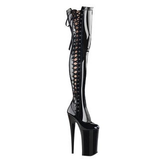 Pleaser Women's Beyond-3050 Black Side Zipper Lace-up Over Knee-high Boot