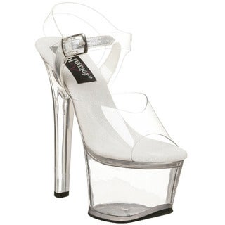 Pleaser Women's Sky-308 Faux-leather 2 3/4-inch Platform Ankle-strap Sandals with 7-inch Heels