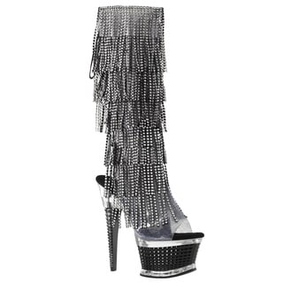 Pleaser Women's ILLUSION-2017RSF 6-layer Rhinestone Fringe Platform Knee-high Boots