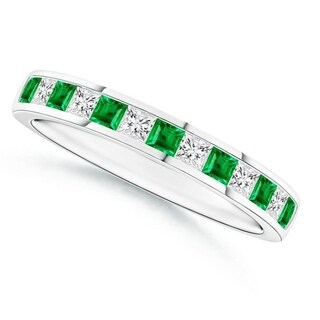 14k White Gold Princess Emerald & Diamond Half Eternity Band (0.58ct) - Green
