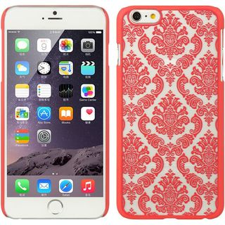 Insten Red/ White Lace Hard Snap-on Rubberized Matte Case Cover For Apple iPhone 6 Plus/ 6s Plus