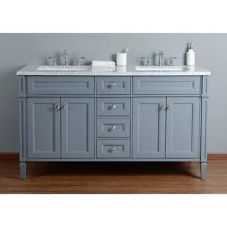 Stufurhome Anastasia 60 Inch Grey Double Sink Bathroom Vanity