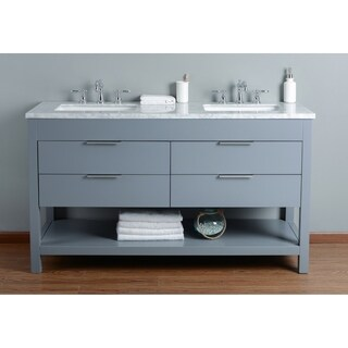 Stufurhome Rochester 60 Inch Grey Double Sink Bathroom Vanity
