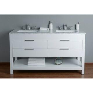 Stufurhome Rochester 60 Inch White Double Sink Bathroom Vanity