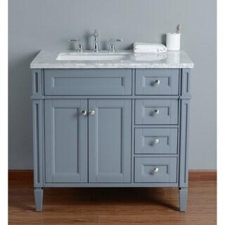 Stufurhome Anastasia 36 Inch Grey Single Sink Bathroom Vanity