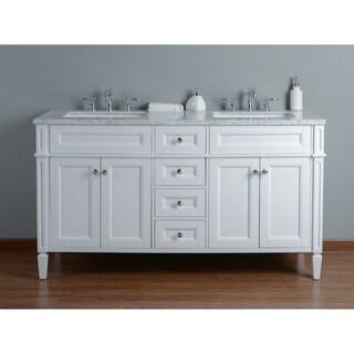 Stufurhome Anastasia 60 Inch White Double Sink Bathroom Vanity