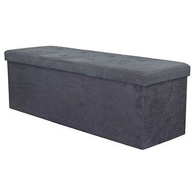 Sorbus Storage Bench Chest  Contemporary Faux Suede (Large, Black)
