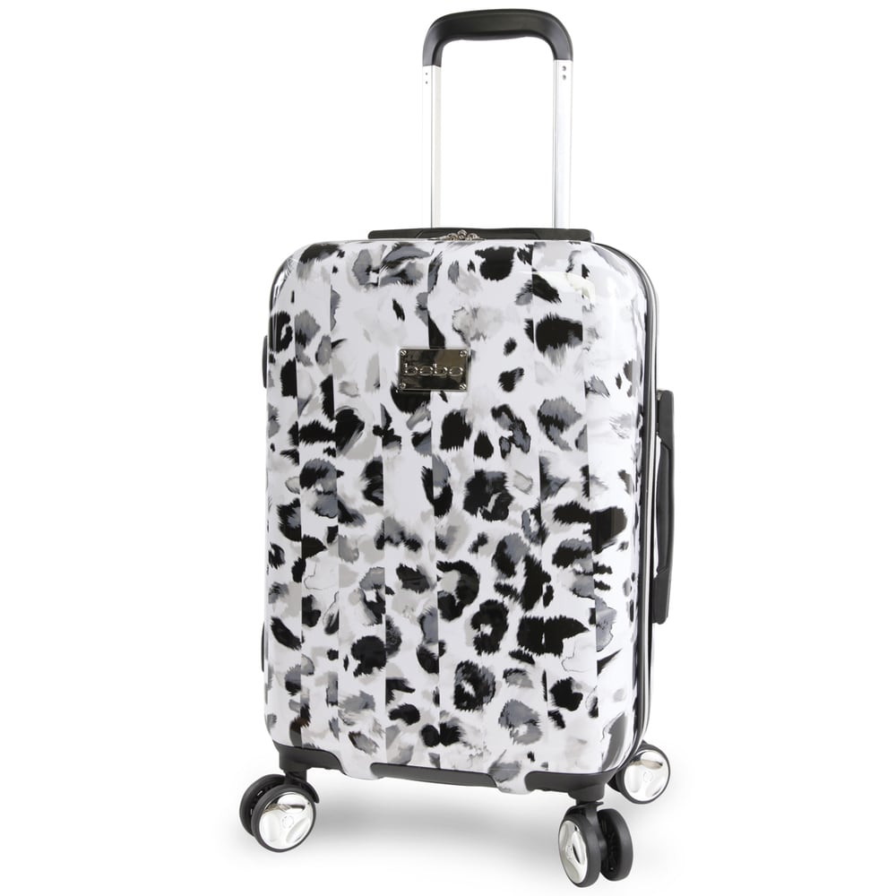 BEBE Womens Adriana 21 Hardside Carry-on Spinner Luggage Leopard