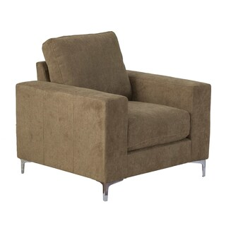 CorLiving Cory Solid Chenille Fabric/Wood Armchair