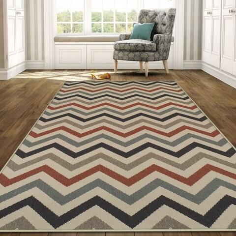 Superior Designer Chevron Indoor/Outdoor Area Rug collection - 8' x10'