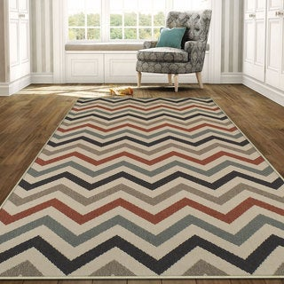 Superior Designer Chevron Indoor/Outdoor Area Rug collection (8' X 10') - multi-color - 8' x10'