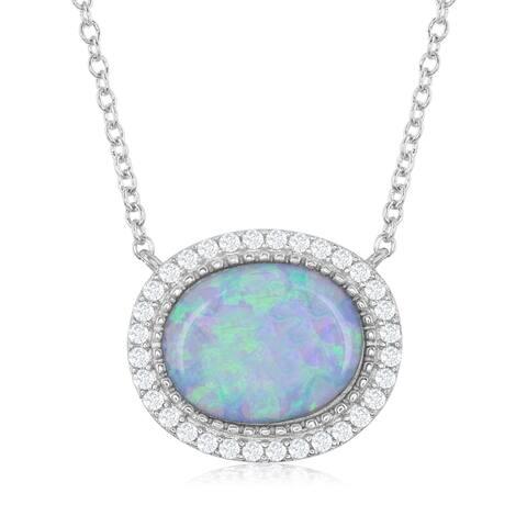 """La Preciosa Sterling Silver 16+2"""" Oval Opal with CZ Border Necklace"""