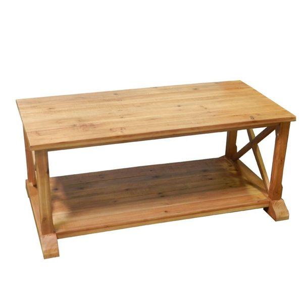 Benzara Elite Natural Wood Coffee Table