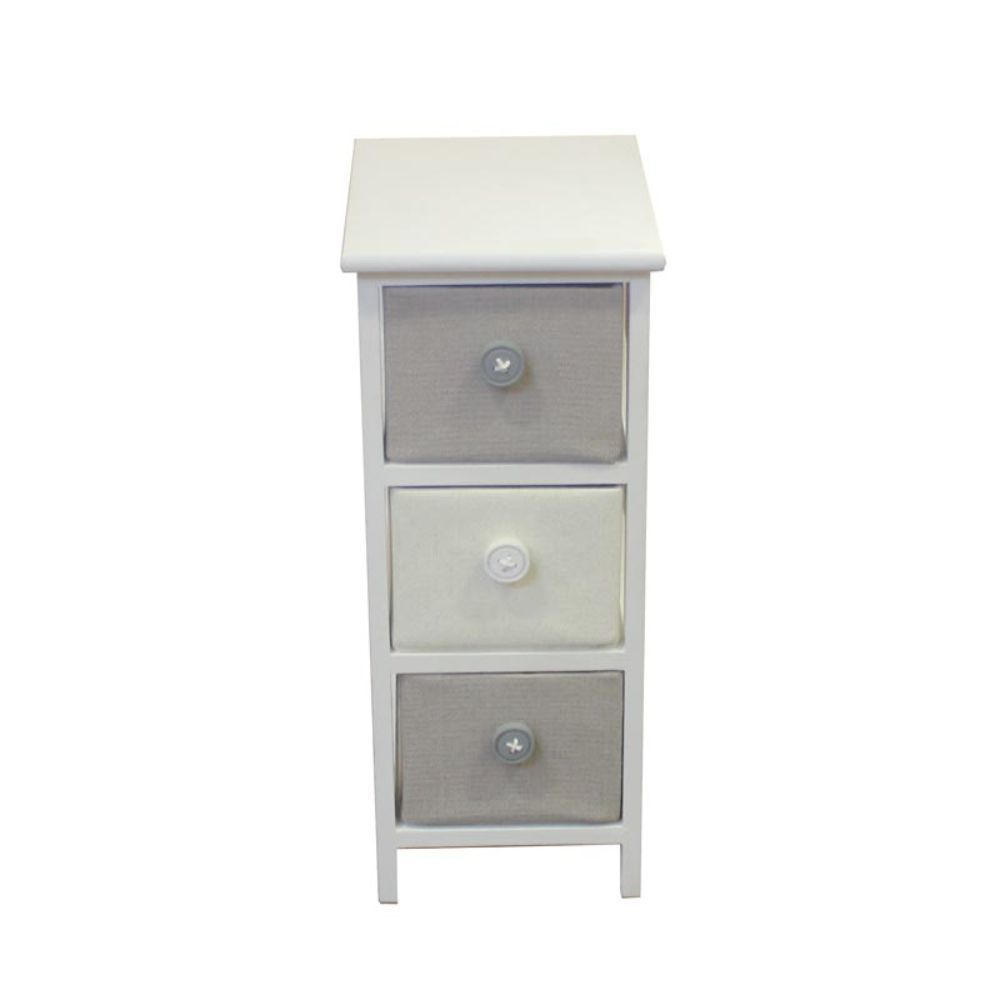Small Wooden Cabinet With 3 Drawers - Benzara (Gray and W...