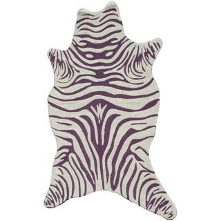 The Rug Market Zebra Vineyard Shaped Purple Acrylic Area Rug (8' x 10')