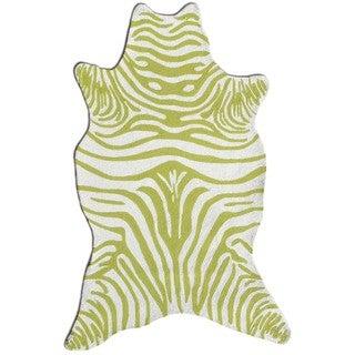 The Rug Market Green/White Acrylic Zebra Area Rug