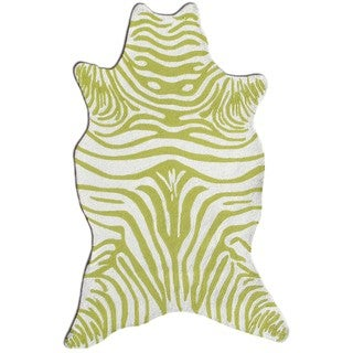 The Rug Market Green/White Acrylic Zebra Area Rug (8'x10')