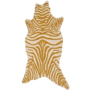 The Rug Market Zebra Lemon-shaped Yellow Acrylic Area Rug (8' x 10')