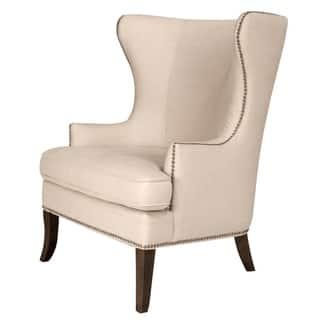 Gray Manor Stephen Cream Brown Wood Linen Wing Chair