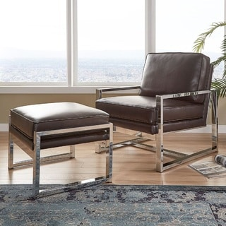 Rafael Chrome Chair and Ottoman by iNSPIRE Q Modern